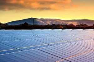 wick solar farm with mendip hills